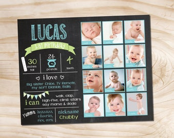 1st Birthday Photo Chalkboard, Digital File, Birthday Stats Photo Prop, Personalized Poster, Floral Shabby Chic, Milestone Board Fact Board