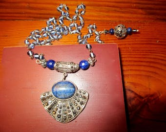 Decadent Genuine LAPIS, STERLING, MARCASITE Fan Pendant & Exquisite Bail on Pale Blue Rosary Chain w/Pierced Sterling and Lapis Dangle