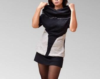 Sleeves black cotton jersey tunic dress shorts