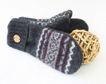 Felted Sweater Mittens BURGUNDY Nordic / Fair Isle with Gray Wool Mittens Fleece Lined Unisex Gift for Women or Men Under 50 by WormeWoole