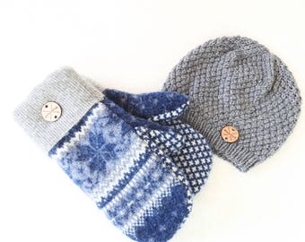 Wool Mittens and Beanie Set / BLUE Nordic Mitts & GRAY Knit Hat / Fleece Lined Mittens and Toque Gift Set Under 100 by WormeWoole