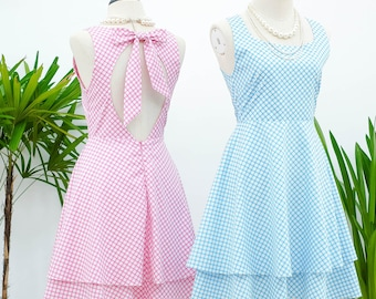 Alice cut off back dress pink blue plaid dress pink dress pink party dress blue sundress blue bridesmaid dresses pink bridesmaid dress