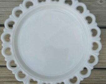Vintage Milk Glass Cake Plate, White Cake Plate, Wedding Cake Plate,White Wedding Cake Plate