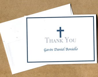 Boy Baptism Thank You Cards - Boy, Christening, Dedication, Confirmation - Custom - Personalized - Cross Thank you Note -  Religious Cards
