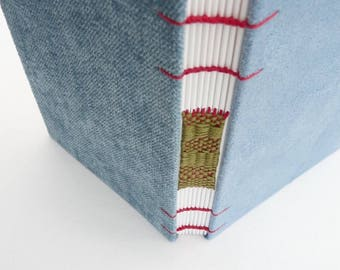 Light blue journal, Coptic, A6,  woven spine, notebook, blank book, faux suede, chenille