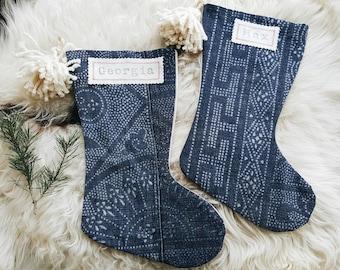 Chinese Batik Christmas Stockings - Modern Bohemian Christmas Décor - Boho Stocking with Pom Poms