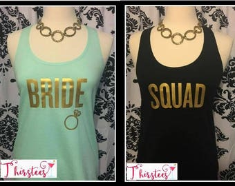 mint and navy Bride tank top Squad tank tops discounts available Racerback bride squad tank top bridal shower gift