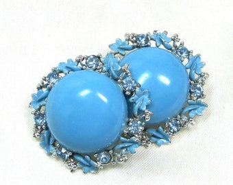 25% Off Vintage Blue and Silver Clip On Earrings, Sky blue enamel with Blue Rhinestones