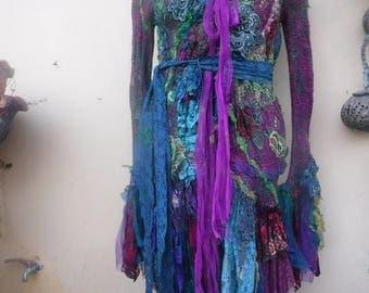 "20%OFF gothic bohemian boho lagenlook jacket gypsy knit jacket coat ....work of art!!   medium to stretched 42"" bust...."