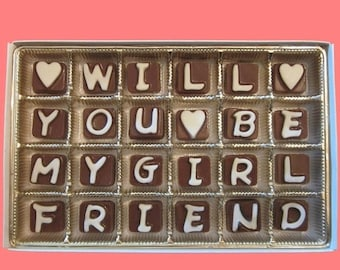 ship AFTER 8/7 Will You Be My Girlfriend Chocolate Be My Valentine Fun Creative Way to Ask Gift for Her Women Girl Cubic Letters by What Can