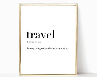 SALE -50% Travel Quote Definition Print, Funny Kitchen Decor, Digital Print Instant Art INSTANT DOWNLOAD Printable Wall Decor