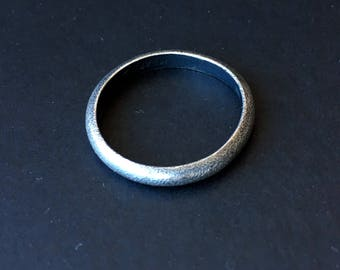 Vintage Sterling Silver Ring Band Oxidized Textured Wedding Jewelry Large Size 8 9