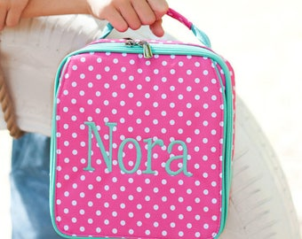 FREE pencil pouch offer FREE monogramming - Personalized Monogrammed Embroidered Hot Pink Mint DOTTIE Lunch pack Lunch box