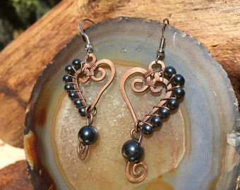Heart Spiral Copper Wire Wrap  & Hematite Beads Earrings  surgical Steel hooks