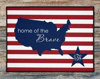 Personalized Americana Door Mat, Home of the Brave Door Rug, 4th of July House Doormat, Custom USA Doormat, Nautical Boat Welcome Mat