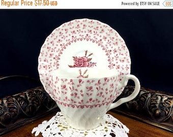 ON SALE Teacup Tea Cup and Saucer - Shabby Johnson Bro  Rose Bouquet  Pink Chintz 10825