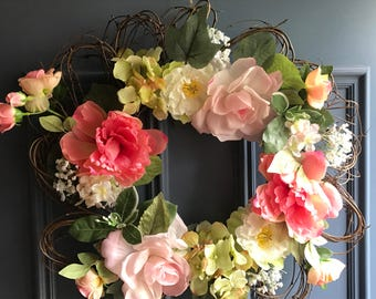 Flower shaped grapevine wreath- featuring hydrangea, roses, peony and more!