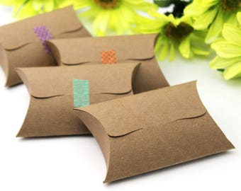 """50 Small Pillow Boxes - DIY favor boxes - product packaging , gift box , jewelry box, unique tab tuck closure - 2.625"""" x 2.25"""" x .875"""""""
