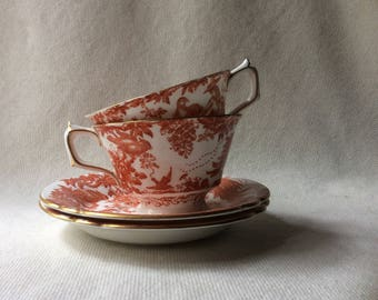 Pair of Tea Cups-English BoneChina -Royal Crown Derby -Alves Pattern
