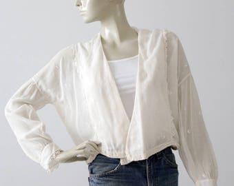 Edwardian blouse, 1900s sheer cotton top