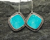 Kingman Turquoise Earrings, Handmade, Sterling Silver, Sky Blue, American Turquoise, Southwestern Style, Great with Jeans, Casual Earrings