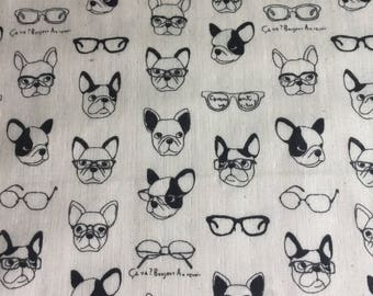 French Bulldogs with glasses, double gauze for Kokka fabrics 1/2 yd
