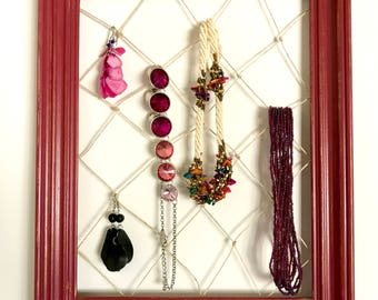 Vintage Frame Jewelry Organizer. Twine Jewelry Holder. Picture Frame Organizer