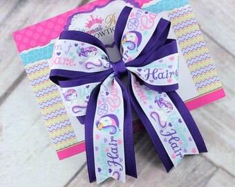 Baby Bows, Toddler Bows, Girls Hair Bows, Hair Clip, Unicorn Hair Bow Headband, Pink Purple Teal Hair Bow Headband, 5 Inch Hair Bow