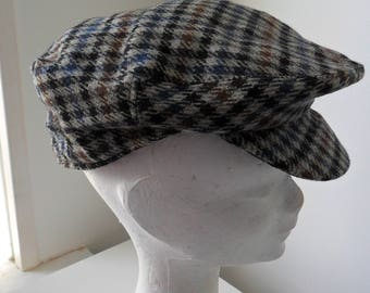 Vintage 1960s Christy's of London Haymarket Houndstooth Men's Flat Cap (Lambswool)