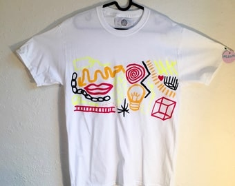 Painted White T-Shirt by Sam Pletcher 〰 Hand Painted One of a Kind Adult Medium Shirt 〰 Black, Golden Yellow, Neon Yellow and Red