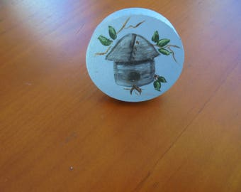 HAND PAINTED wooden Knob featuring Bird House