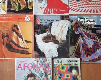 Lot of 8 Vintage Knitting and Crochet Pattern Booklets for Afghans Throws Blankets Coverlets