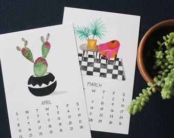 2018 Calendar, 2018 Wall Calendar, Cute calendar, Plant lady gift Calendar 2018 wall, Illustrated calendar, Art calendar, Botanical calendar