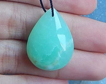Chrysoprase Gemstone Pendant Bead,25x19x8mm,4.1g(P082)