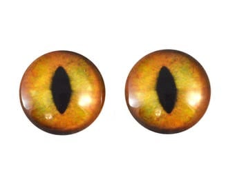 20mm Realistic Orange Cat Glass Eyes Pair of Cabochons - Cat or Dragon Eyes for Doll or Jewelry Making - Set of 2