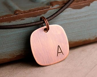 Custom initials Square Tag / Rustic Copper Tag / Kids initials Necklace / Antique copper Initials Tag / Father's Day / Gift for Daddy