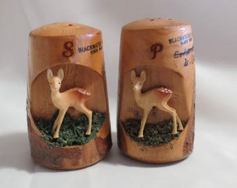 Vintage Carved Wood Souvenier Salt and Pepper Shakers from Blackwater Falls