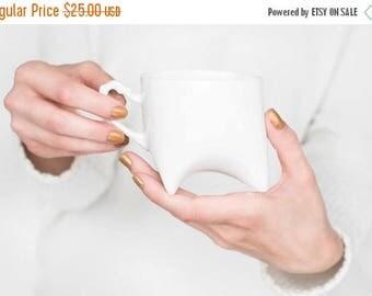 SALE Ceramic mug - white porcelain mug, contemporary ceramic cup handmade coffee cup or tea cup by Endesign