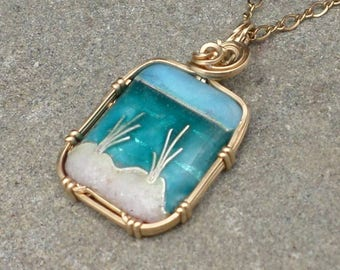 """Cloisonne Beach Scene Mini with REAL BEACH SAND Necklace in Sterling Silver 16"""" chain"""