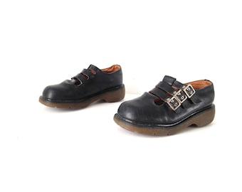 womens size 10 vintage DOC MARTENS style mary janes black leather PLATFORM grunge shoes