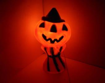 "Orange Plastic Blow Mold Jack-o-lantern Pumpkin Wearing Witch Hat Resting on Haystack Light Halloween Décor 14"" Vtg Empire Paint Retouched"
