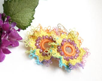 Artisan Yellow Orange Purple Ruffle Frilly Hoop Style Tatting Lace Dangle Earrings