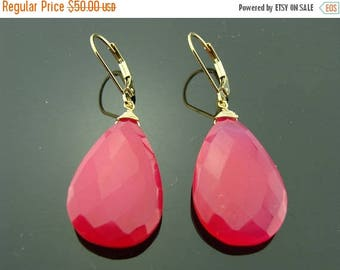 Large Hot Pink Chalcedony 14 K Gold Filled Leverback Earrings