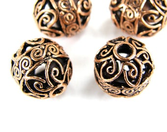 Copper Bali Style Filigree Beads, 11mm x 13mm Antique Round Copper Beads, Metal Beads, Spacer Beads (4) Four Pieces Copper B0020