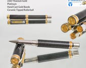 Carbon Fiber Pen Rollerball with gold and platinum Expensive but worth every penny -  gift for him - wooden case / presentation box included