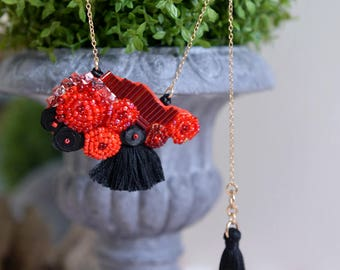 Ferris Wheel - red and black beaded tassels necklace. Oxidized metal jewelry. Style 61. Ready to ship
