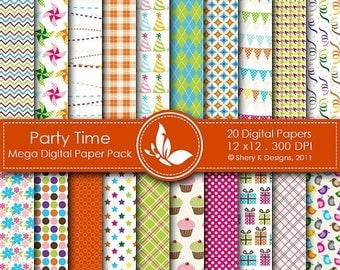 40% off Party Time Mega Paper Pack - 20 Printable Digital scrapbooking papers - 12 x12 - 300 DPI