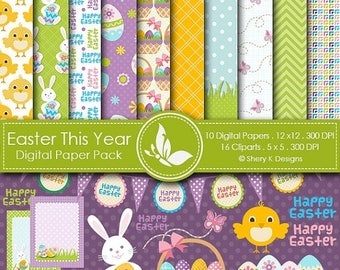 40% off Easter This Year Paper Pack - 10 printable Digital Scrapbooking papers  - 16 Cliparts - 12 x12 - 300 DPI