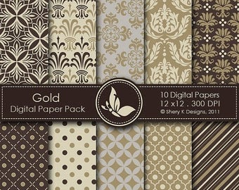 40% off Gold Paper Pack - 10 Digital papers - 12 x12 - 300 DPI