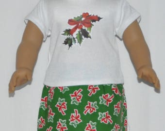 Christmas Skirt Set Doll Clothes Made To Fit 18 Inch American Girl Dolls